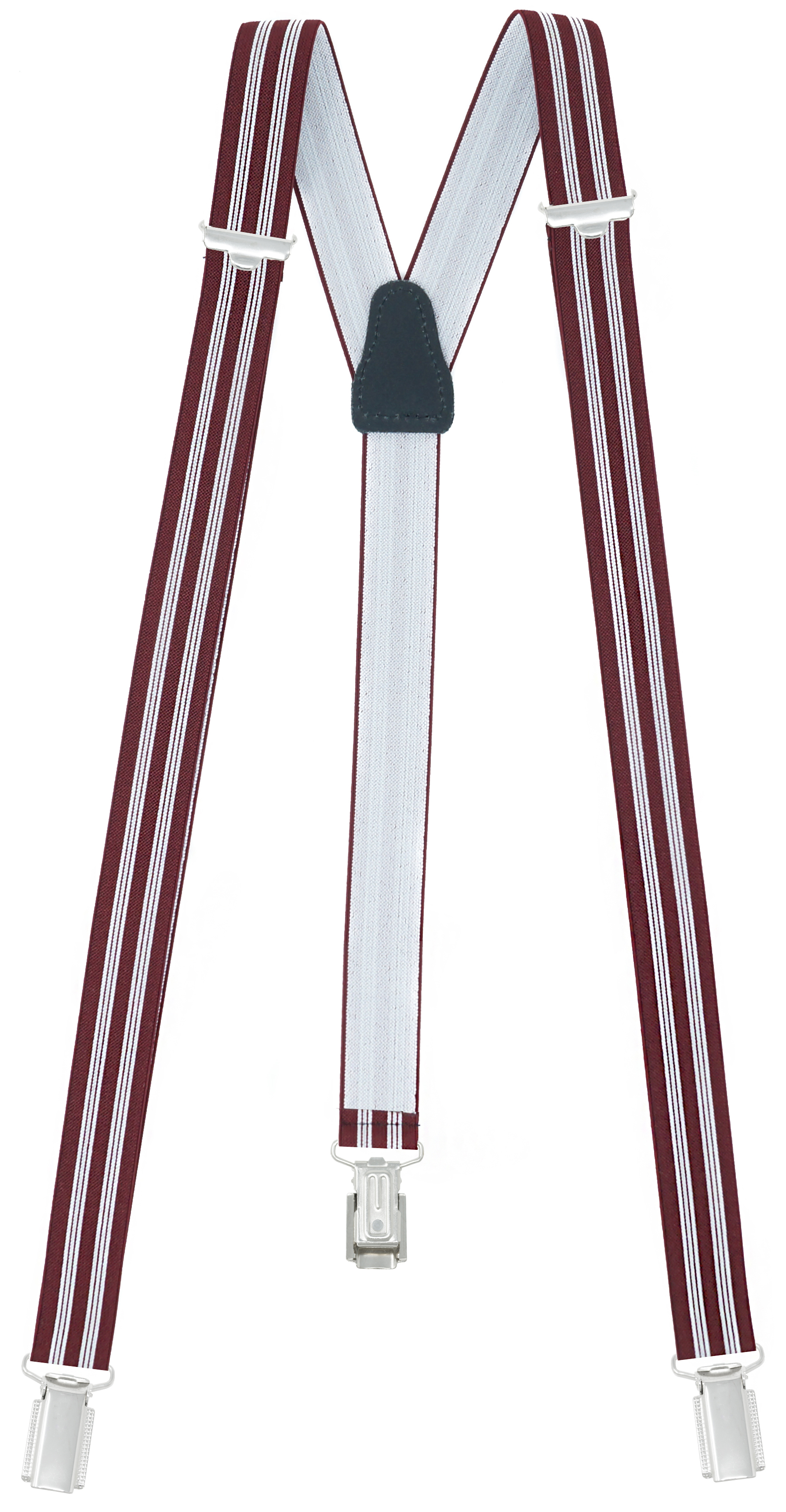 25mm Wide with 3 Clips - Dark Red / White
