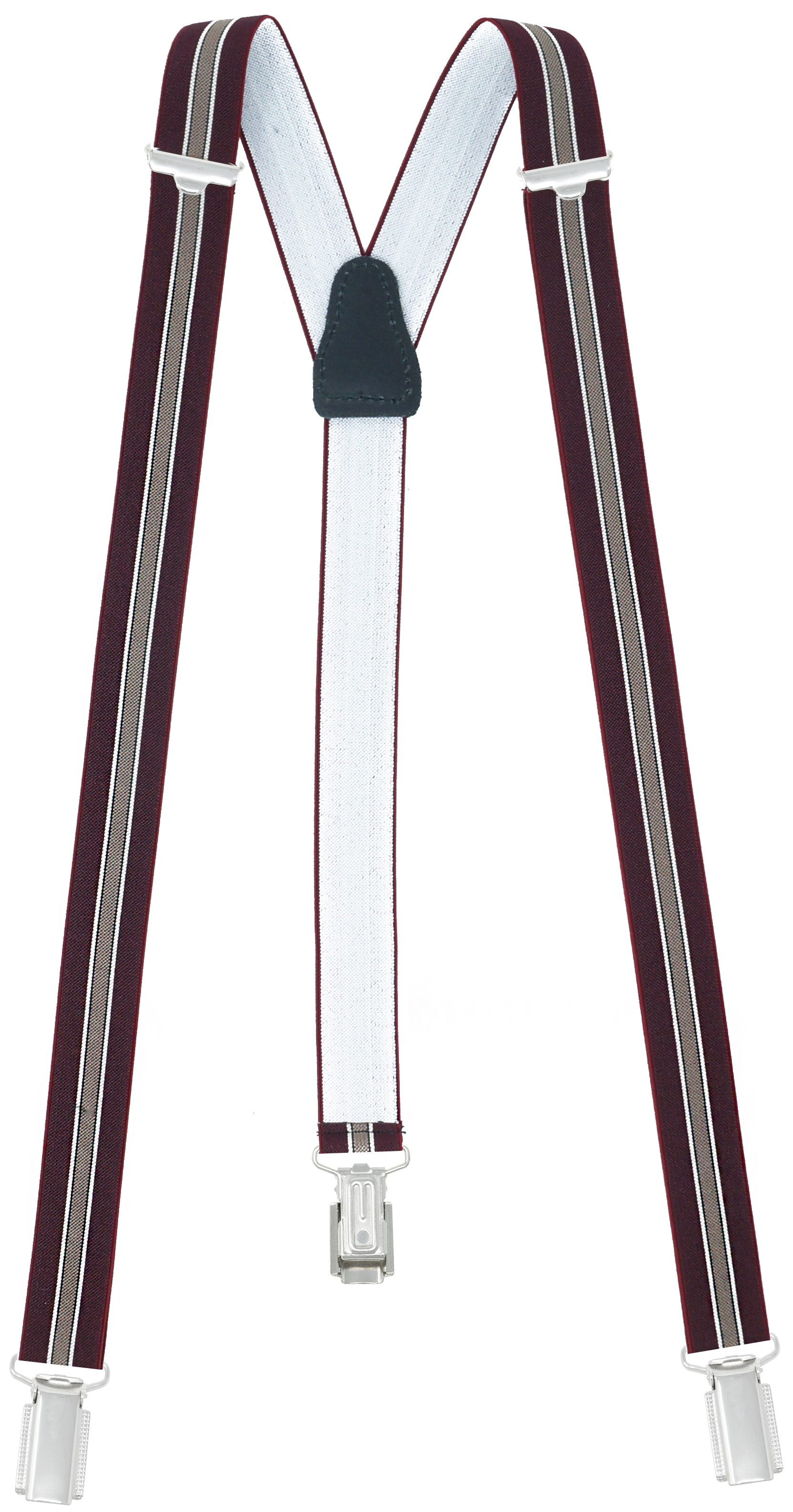 25mm Wide with 3 Clips Dark Red Stripes